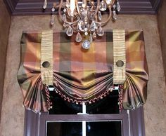#Windowtreatments  Stagecoach valance in silk with a covered bead fringe