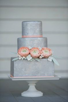 Grey Tiered Cake & Pink Flowers