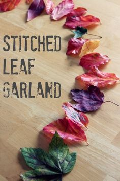 Stitched Leaf Garland via makeandtakes.com craft, leaf garland, autumn leaves, art, autumn holiday, garlands, fall leav, stitch leaf, diy