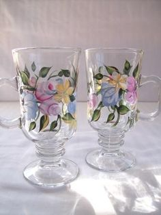 Floral Coffee Mug Set by Morningglories1 on Etsy $40.00