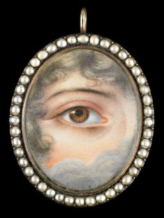"""""""lover's eyes"""" - In 1785, when the Prince of Wales secretly proposed to Mrs. Maria Fitzherbert with a miniature of his own eye, he inspired an aristocratic fad for exchanging eye portraits mounted in a wide variety of settings including brooches, rings, lockets, and toothpick cases."""