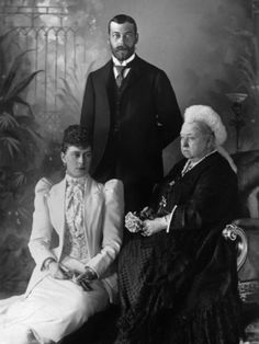 """Queen Victoria with the future King George V and Crown Princess Mary of Teck (we call her """"May""""), 1893"""