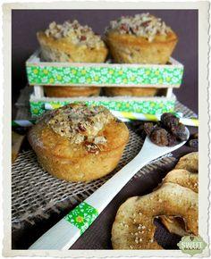 Muffins con salvado de avena, manzanas y pasas
