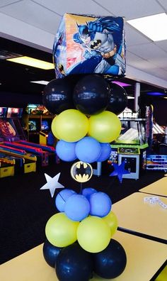 Batman Balloon Decorations for my son Adolfo's 6th Birthday Party!
