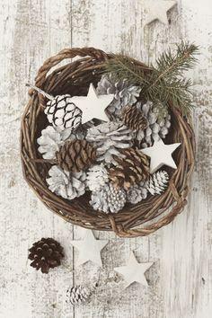 natural plus white pinecones