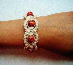Red Painted Wood Hemp Bracelet.
