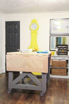 DIY Pottery Barn Inspired Table/Island Hybrid | Remodelaholic.com #knocktoberfest