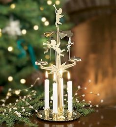 Spinning Angel Chimes Candle Holders With Four White Candles.  Still got one and it comes out each Christmas :)