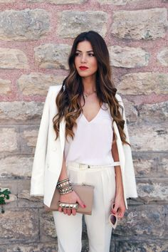 Perfect White Pant Suit | Negin Mirsalehi