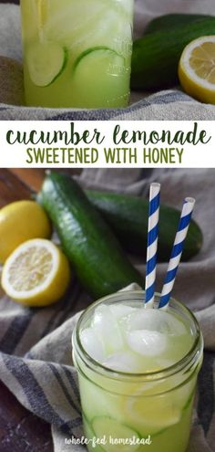 Cucumber Lemonade Sweetened with Honey - Whole-Fed Homestead