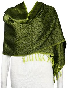 Long Green Scarf Black Paisley Pattern Silk Accessory Fashion Women: Amazon.co.uk: Clothing