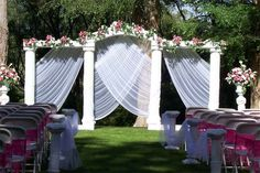 Pretty backdrop for an outdoor wedding ceremony.