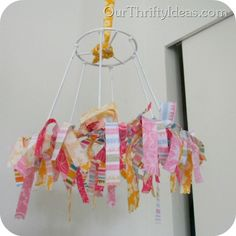 Fabric Chandelier from @OurThriftyIdeas love this idea!  so simple.