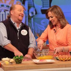 Genie Francis from @Heather Rheault Hospital cooking w/ @Mario Law Batali on #TheChew! #LauraSpencer #GH50
