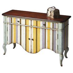 cute idea, paint pastel stripes on a cute little cabinet. Cute color combo too