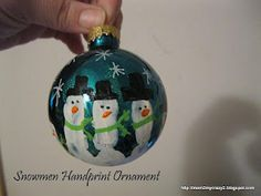 Snowmen Handprint Ornament (Homemade Ornaments)