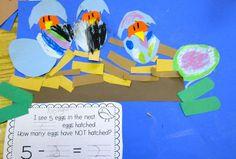 Birds in a nest craftivity to reinforce subtraction concepts for kindergarten/first grade - freebie