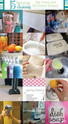I've been spring cleaning today! i guess it won't hurt to get a few more tips and tricks! 15 Spring Cleaning Tips,Tricks, and DIY Cleaner Recipes