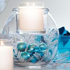 Clearly Creative™ GloLite Jar Holder by PartyLite® Candles, easy to DIY just add any filler for any season! Christmas, Halloween, Spring, Summer, 4th of July, Valentines Day, St Patricks Day, Weddings, Birthdays, Centerpieces, blue ornaments, flowers, white candles.