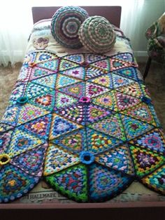 Crochet Granny Triangle Afghan - would be neat to attempt as a trinity type knot work