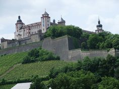 Wurzburg Castle, overlooking the Main River in Germany.
