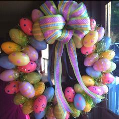 holiday, crafti, front doors, easter wreaths, bows, easter eggs, easterwreath, crafts, egg wreath