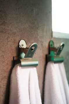 vintage binder clips for hanging towels