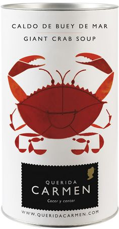 Nice packaging // Querida Carmen crab soup, graphic, querida carmen, packag design, exclusive packaging, giant crab, soup cans, crabs, nice packag