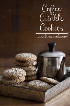 coffee crinkle cookies on OvertimeCook