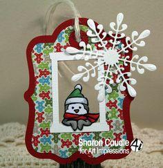 Art Impressions Ai Mini Front & Backs.  Snowman and Penguin set.  Handmade Christmas tag with snowflake.