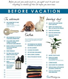 Before you leave your house for vacation checklist