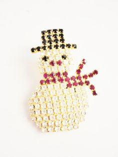 vintage rhinestones  Christmas Brooch  red black white snowman  gold tone