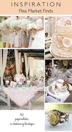 A great collection of ideas for a flea market decorated wedding.  Classic roses and baby's breath, lots of mismatched tea cups, plates and decorative items.