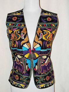 Sz S Raiment Fashion Vest East Indian Elephants Boho Embroidered Black Colorful