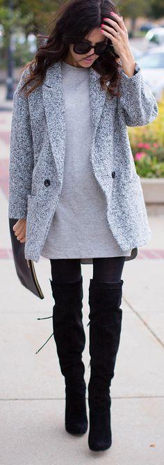 Love whole outfit Grey Boyfriend Coat