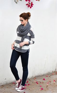 brown converse outfit, monochrome outfits, grey stripe