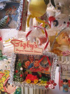 handmade, vintage, Christmas shadowbox ornaments