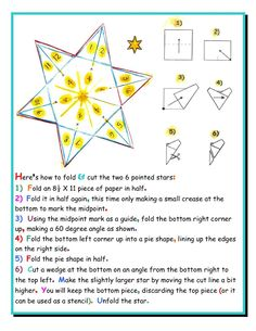 Double 6-Star Flashcards!     This activity is best for grades 2 or 3, after times tables have been introduced. You will need a pair of scissors and plain copy paper to fold and cut two of these stars, one slightly larger than the other. See instructions on the left.    Note that the the folds will keep the 2 stars together, but you can tack them in the middle for more stability. You  continued comments