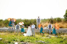 Modern orange and turquoise beach wedding