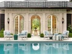 outdoor pool and poolhouse