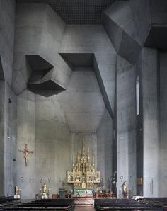 Photograph by Fabrice Fouillet, St Joseph, Le Havre, France, completed in 1956 by architect: Auguste Perret