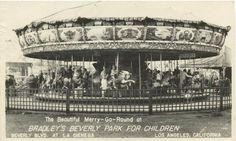 One of the very first photos of Beverly Park's carousel dated 1947. Kiddie land ran from the 1940s until 1974. Located in the corner of La Cienega and Beverly Blvd. Walt Disney came to this park often and it's been documented the park inspired him to build Disneyland.