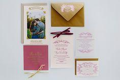 winter wedding invitations, photo by Brooke Courtney Photography http://ruffledblog.com/sophisticated-wedding-at-moonstone-manor #weddinginvitations #stationery