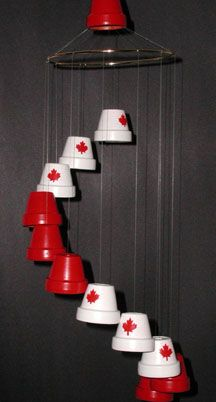 Clay Pot Windchime from Craft at Home website Susan Spatone terracotta pot windchimes, pot idea, blue, canada day, wind chimes, claypot, terracotta pots, crafts at home, clay pots