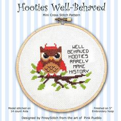 Hooties WellBehaved Cross Stitch PDF Chart by PinoyStitch on Etsy, $5.00