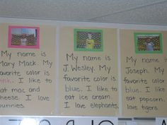 Mrs. Cates' Kindergarten: Beginning of the Year Activities. Fit this in with morning message until everyone has a poster.