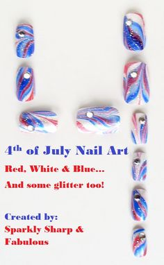4th Fourth of July Memorial Day Red White Blue Glitter Rhinestone Patriotic American Abstract Summer Water Marble Nail Art