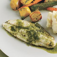Branzino and Roasted Baby Vegetables with Tarragon-Chive Oil