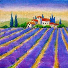 Landsape Oil painting  still life Blue Lavender by Melsfineart