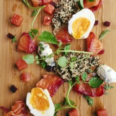 Toby's gravlax – served with cubed beetroot & watermelon, quinoa, marjoram creme fraiche, soft boiled egg w/ fennel salt, watercress, marjoram, dill & lemon basil. Drizzled lightly with olive oil & lime juice